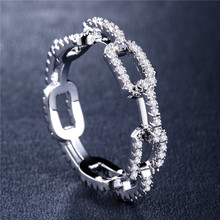 Huitan Creative Chain Design Women Ring With Micro Paved Destiny Link Couple Ring For Girlfriend&Boyfriend Hot Selling Items цены онлайн