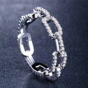 Huitan Women Ring Items Destiny-Link Chain-Design Micro-Paved Boyfriend with Couple