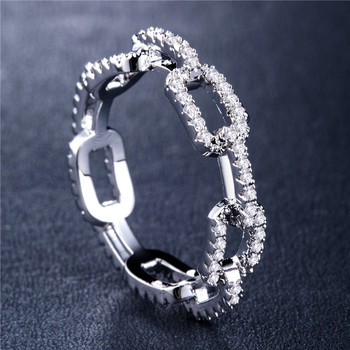 Huitan Creative Chain Design Women Ring With Micro Paved Destiny Link Couple Ring For Girlfriend&Boyfriend Hot Selling Items