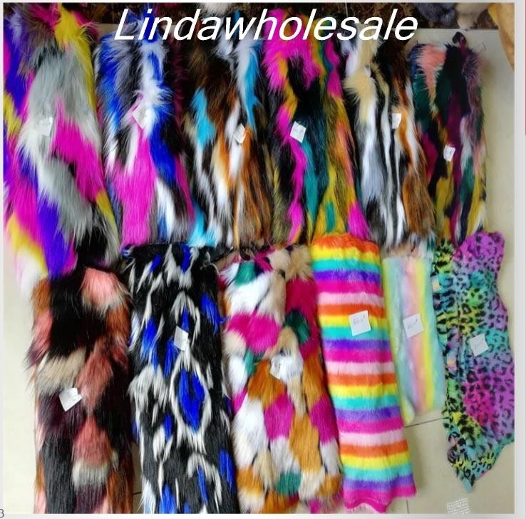 Wholesale Jacquard Plush Multi-color Rainbow Faux Fur Fabric,fabrics For Patchwork,felt Cloth,Shoe Hats Decoration Materials