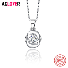 Sterling 925 Silver Necklace 2018 Women Rhinestone CZ Choker Necklaces Pendants Collier Bijoux Necklace Female Short Chain aglover necklace 2018 short 925 silver chain crystal choker necklaces