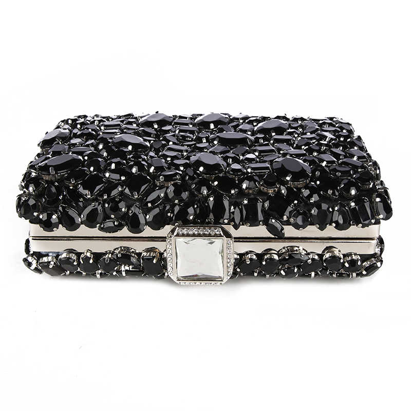 c9e944960370e ... Crystal Evening Bag Beaded Day Clutches Lady Wedding Purse Rhinestones  Handbags Silver Black Evening Clutch Bags ...