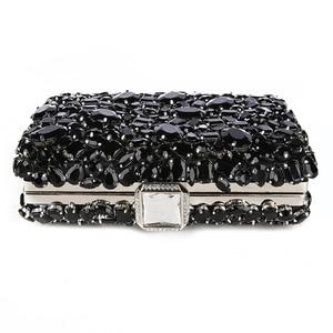 Image 3 - Women Clutch Evening Bag Beaded Crystal Lady Wedding Purse Rhinestones Handbags Silver Black Evening Clutch Bags for Women