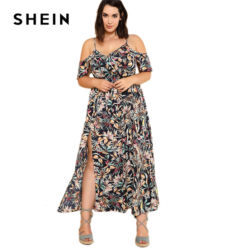 75106dd8a55 SHEIN Open Shoulder Tropical Wrap Dress 2018 Summer Spaghetti Strap V neck  Ruffle Dress Women Plus Size Beach Belted Dress-in Dresses from Women s  Clothing ...