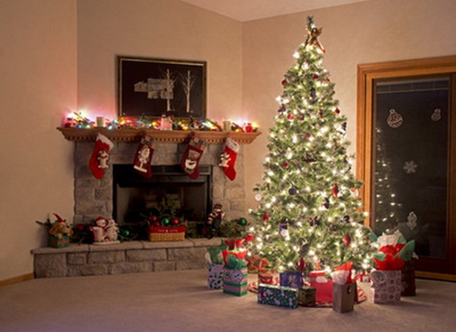 Indoor Fireplace Christmas Tree Photography Background: 6x10ft(2x3m) Indoor Christmas Tree With Shining Light Bulb
