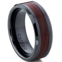 Infinity Black Tungsten Carbide Rings Red Wood Inlay Wedding Band Bridal Ring promise rings for couples