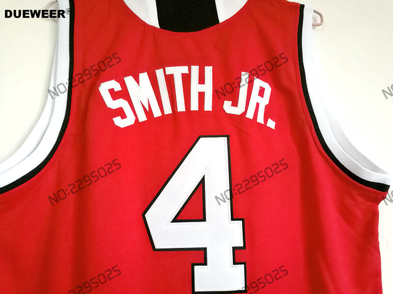 DUEWEER Mens Throwback 4 Dennis Smith Jr NC State Wolfpack College  Basketball Jersey All Embroidery Red White Color-in Basketball Jerseys from  Sports ... fcc9dad51