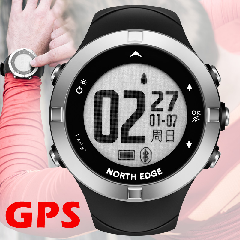 GPS-klocka digital Hour Heart Rate Men digitala armbandsur smart vattentät Calorie Running Jogging Triathlon Vandring NORTH EDGE