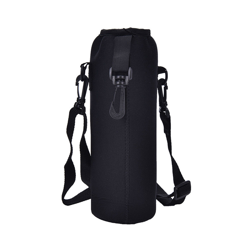 Water Bottle Cover Bag Pouch With Strap Neoprene Water Pouch Holder Shoulder Strap Black Bottle Carrier Insulat Bag #LR4