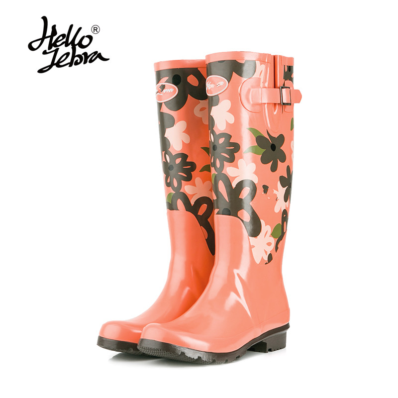 Hellozebra Women Tall Rain Boots Ladies Low Hoof Heels Waterproof Graffiti Buckle High Nubuck Round Toe Rainboots Rubber Shoes набор торцевых головок с принадлежностями 26 предметов кобальт 010203 26
