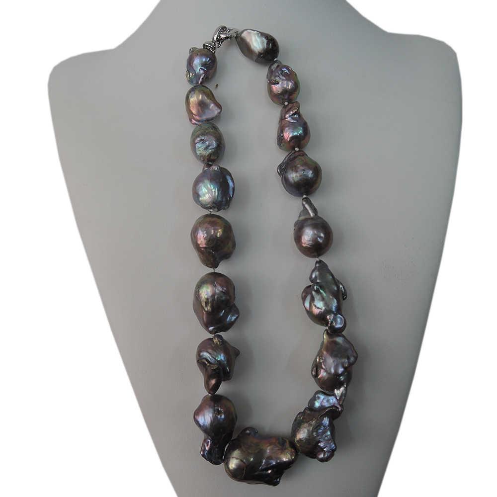 สร้อยคอไข่มุกแท้ 100%, BIG black Baroque PEARL สร้อยคอ - คุณภาพดี - nice 925 เงิน, 16-21 มิลลิเมตรขนาดใหญ่ baroque pearl