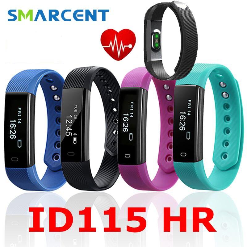 Smarcent mi smart wristband fitness bracelet ID115 HR ID115HR Heart Rate Monitor Waterproof Bluetooth 4 0