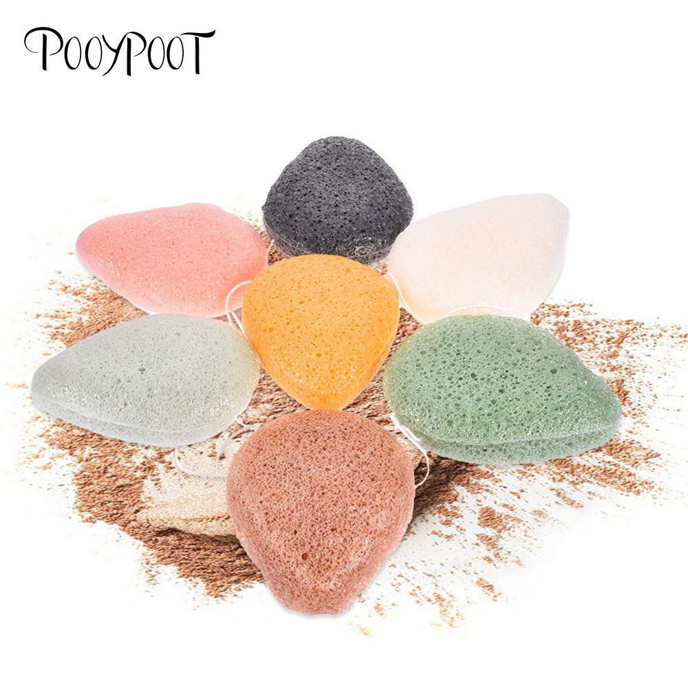 Pooypoot Natural Konjac Sponge Cosmetic Puff Face Exfoliator Wash Cleaning Sponge Plant Cotton Bamboo Puffs Facial Cleanser Tool цена