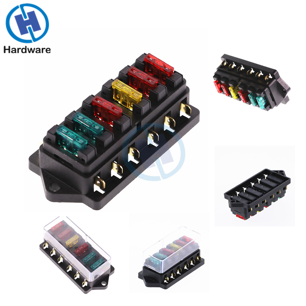 6 Way Circuit Standard ATO Blade Fuse Box DC 12V/24V Car Fuse Block Holder With 6pcs 3A-30A Fuses