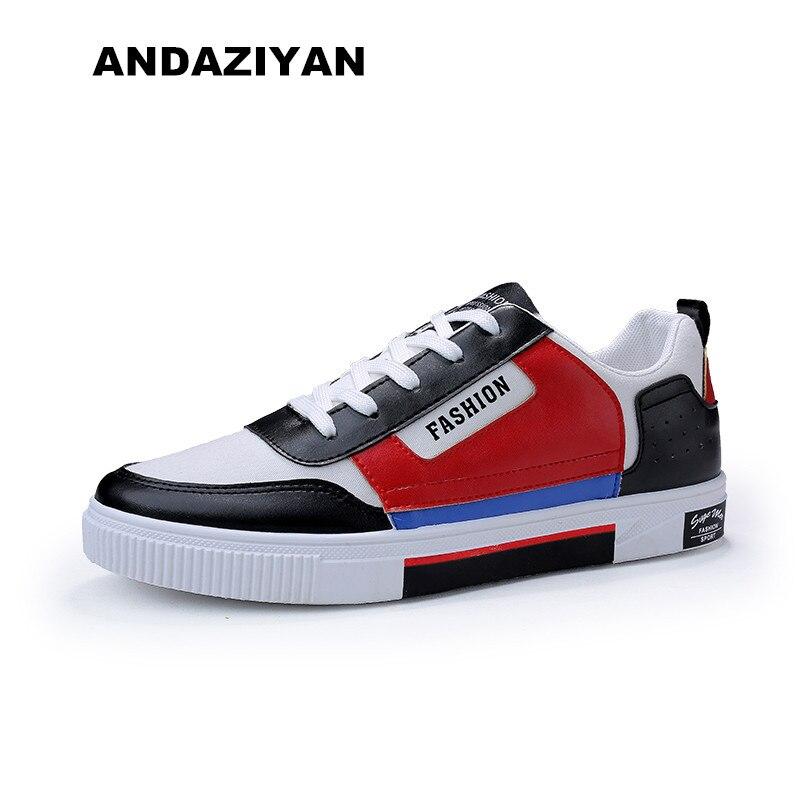 De Costura Novos Couro And Homens black white Lona Red Blue Sapatos Dos White Sapatas wqIEXBtT