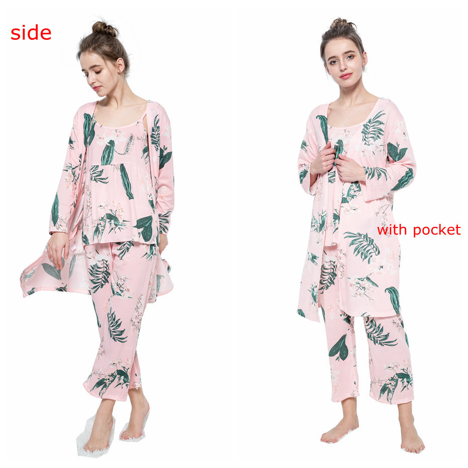 HTB1TibkbHus3KVjSZKbq6xqkFXaD - JULY'S SONG Woman Pajamas Set Sling Cotton Pajamas 3 Peices Sleepwear For Women Long Sleeves Breathable Sexy Robe Homewear