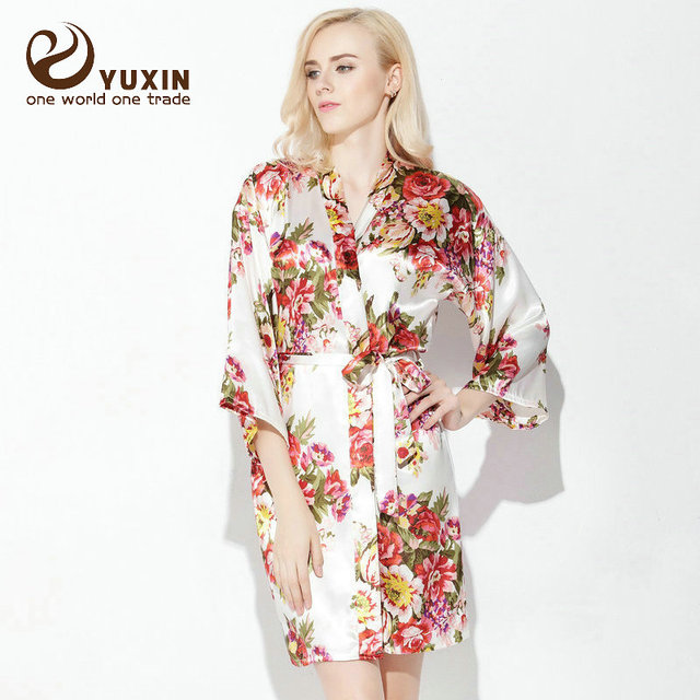 Large floral LF001 Silk Satin Wedding Bride Bridesmaid Robe Floral ...