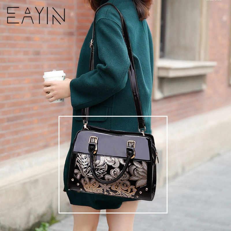 31693ba86f ... EAYIN Luxury Designer Black Leather Tote Bag Handbags Sequin Flower Women  Famous Brand Lady s Lacquered Handbag