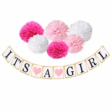 FENGRISE Baby Shower Banner Balloon Pink Mummy to Be Sash Pacifiers It's Girl Baby Shower Decorations Gender Reveal Party Favors
