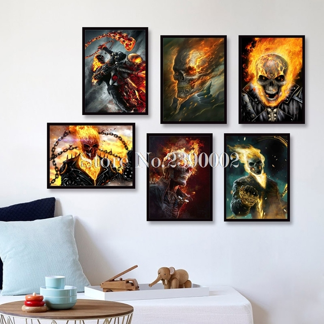 Superior 5D DIY Diamond Painting Cross Stitch Marvel Comics Home Decor Embroidery  Ghost Rider Full Diamond Mosaic