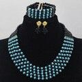 Azul del trullo De Perlas Africanas Boda Nigeriano Beads Africanos Joyería Conjunto Cristal Chunky WD405 Fábrica de La Joyería del Envío Libre