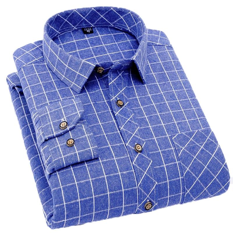 Legere Hemden Radient Nigrity 2019 Frühling Herbst Herren Langarm Plaid Warm Streifen Und Kontrollen Dicken Shirt Mode Komfortable Weiche Casua Plus Größe Hemden