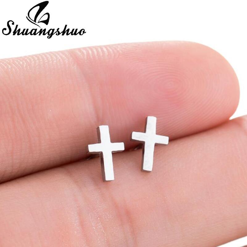 Shuangshuo Punk Korean Earrings Cross Stainless Steel Earrings Cross Stud Earrings Women Jewelry Studs Small Earrings oorbellen