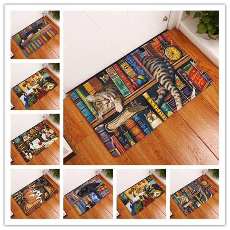 Rectángulo luz bienvenida puerta de casa divertida perezosa estantería Sleeping Cat patrón alfombras 40*60 cm fino alfombras de baño