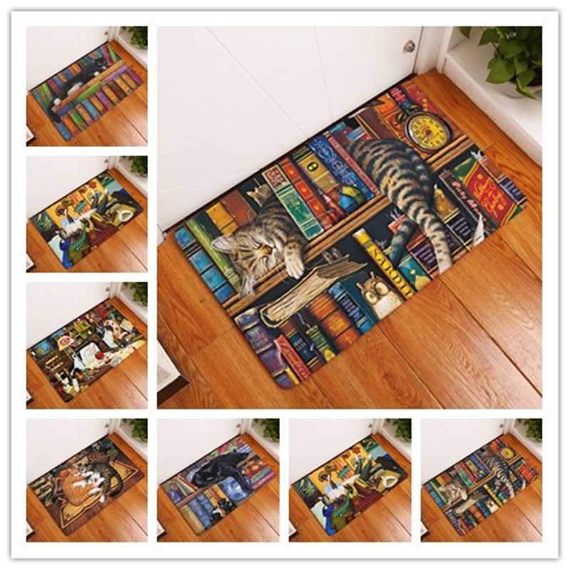 Rectangle Light Welcome Home Door Mats Funny Lazy Bookshelf Sleeping Cat Pattern Carpets 40 60cm Thin