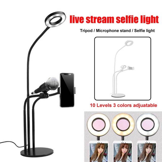 Photo Studio Makeup Selfie LED Ring Light with Cell Phone Clip Microphone Holder Lamp for Youtube Live Stream for iPhone Andriod