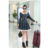 Hot Sale 2015 New Fashion Brand Women Summer Jeans Lace Dress Girl Casual Denim Dress Vestidos