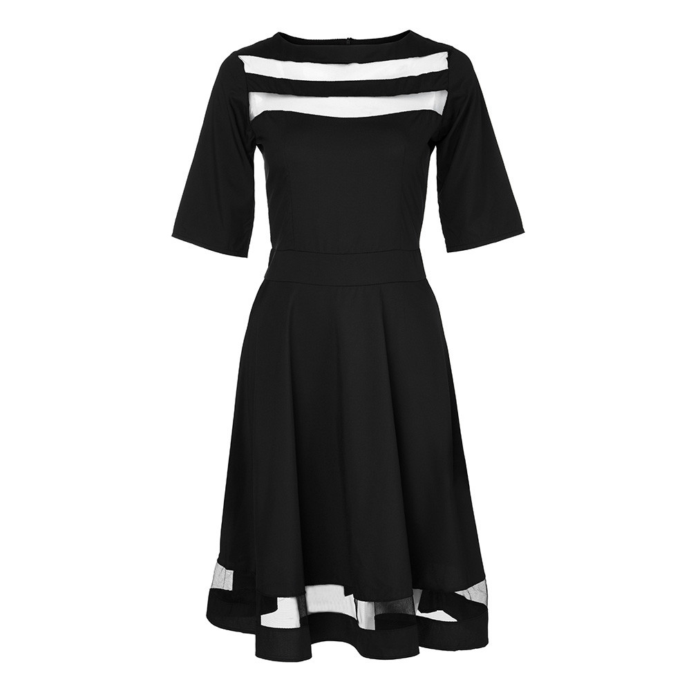 b4ea109e6cf5 Mesh Insert Bardot Fit   Flare Dress 2018 New A Line Long Sleeve Short  Dress Female Party Black Tunic Dress Autumn Dress-in Dresses from Women s  Clothing on ...
