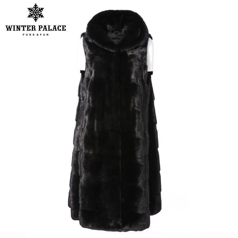 Moyen Section black Gilet Longue Fourrure Automne Décontracté Nouvelle D'hiver De Purple Et Manteau Manteaux 2018 Femmes Vison khaki Importé Light Wq7cBO6cn
