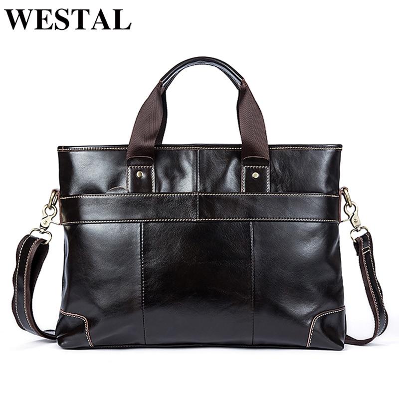 WESTAL messenger bag men s shoulder bag Genuine Leather mens bags Crossbody Bags Casual Totes Male