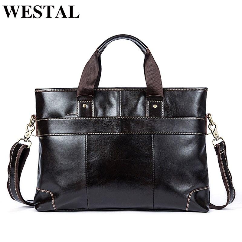 WESTAL сумка мужская из натуральной кожи мужские сумки через плечо повседневные сумки мужские портфели сумки для ноутбука