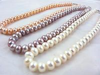Fashion 13inches 100 Natural 3Color Freshwater Pearl Necklace Women Real Long Pearl Bead Necklace Lady Girl