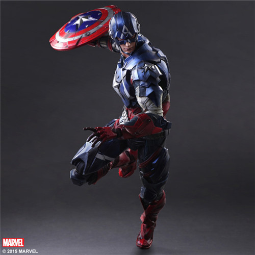 Play Arts 27cm Marvel Captain America Super Hero Action Figure Toys metal gear solid v the phantom pain play arts flaming man action figure super hero