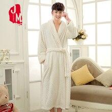 New man Coral Fleece Sleepwear Sexy Winter Floral Autumn Warm Bathrobe Nightgown Kimono Dressing Gown Robe for men