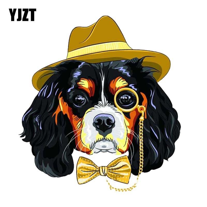 YJZT 17.4CM*19CM Handsome Tie Dog PVC Decal Car Sticker Modelling 12-30013