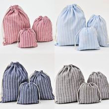 THINKTHENDO 1PC Christmas Candy Party Storage Bag Cotton Linen Drawstring Tea Gift Portable Bags Makeup Bag for Travel christmas baubles pattern candy drawstring storage bag