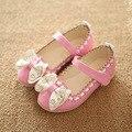 Дети милый маленький размер весна и осень скольжения на обувь малыша случайные девочка мягкое дно обувь качества pu кожаные ботинки для детей