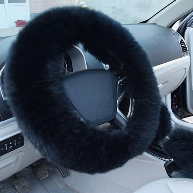 a4e7ef0480c9 Car Steering wheel Car Handlebar Cover Warm Long Wool Plush Comfy Super  Soft Steering Wheel Cover Protector Colorful-in Steering Covers from ...
