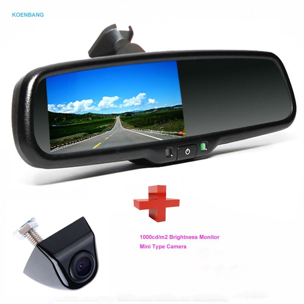 KOENBANG 4.3 TFT LCD Car Rear View Mirror Monitor 1000cd/m2 2-way Video Input + Rear View Camera Reverse Auto Camera