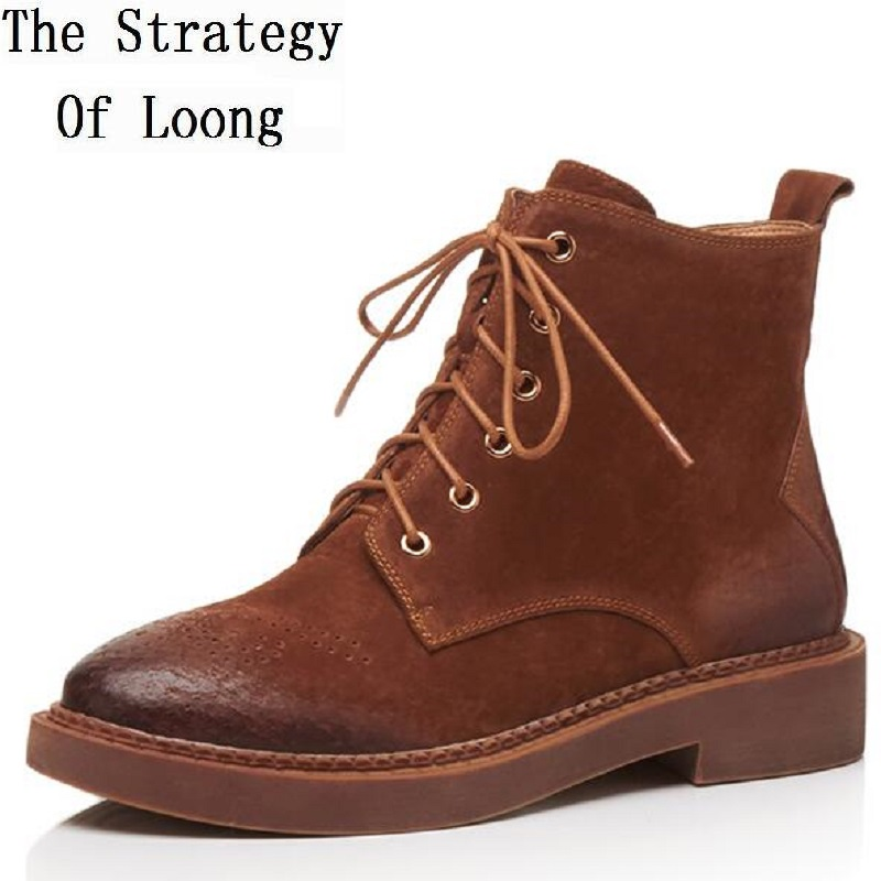 Women Spring Autumn Genuine Leather Lace Up Vintage Ankle Boots 2017 New Arrival Retro Flat Working Short Boots ZWY170824 front lace up casual ankle boots autumn vintage brown new booties flat genuine leather suede shoes round toe fall female fashion