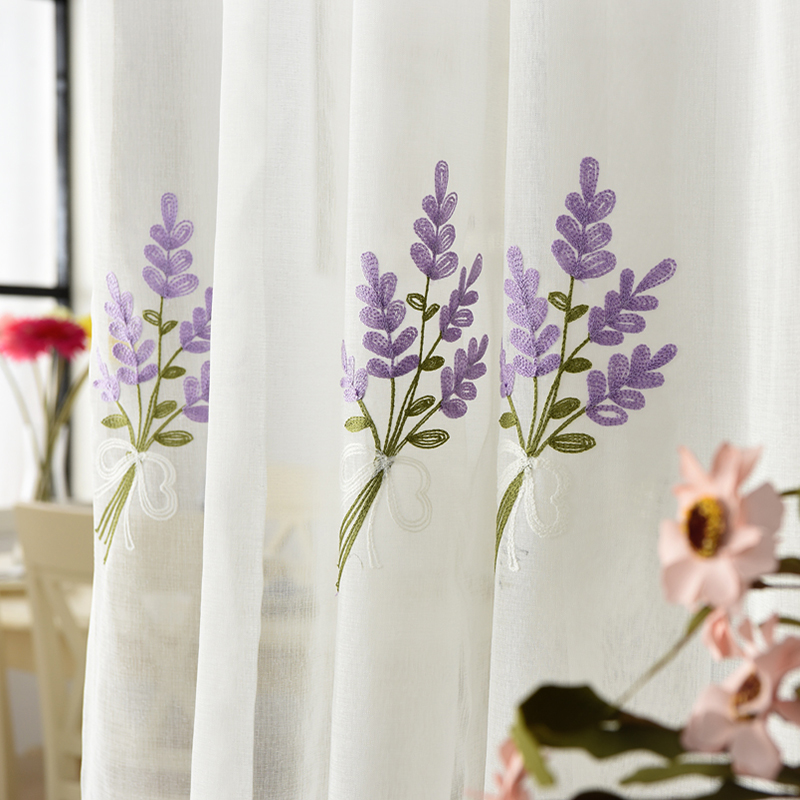 100% Linen Purple Lavender Pattern 3D Embroidery Tulle Sheer For Living Room Bedroom Window Treatment Pastoral Voile Ready Made