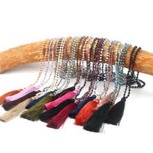 Bohemia Boho Long Tassel Neon Necklace Ancient Crystal Glass Flat Beads Head Pendant Faceted Glass Knot Women Jewelry 6C2477(China)