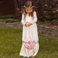 2016 marfim manga comprida comunhão para meninas do partido dos miúdos de noiva Robe Fille Mariage flor do laço do Vintage vestidos menina para o casamento