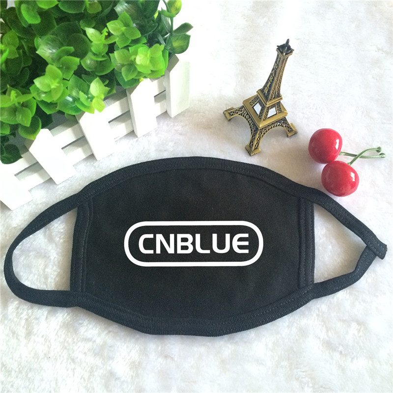 Kpop CNBLUE Code Name BLUE BLUEMING Album Logo Print K-pop Fashion Face Masks Unisex Cotton Black Mouth Mask