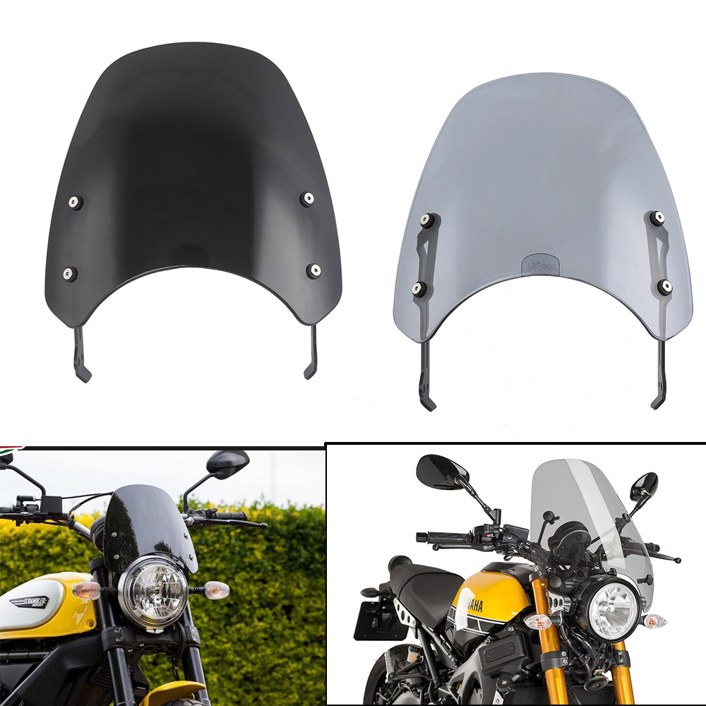 Motorcycle Touring Front Flyscreen Windscreen Windshield Shield Screen With Mounting Bracket For Ducati Scrambler 2015- 2018