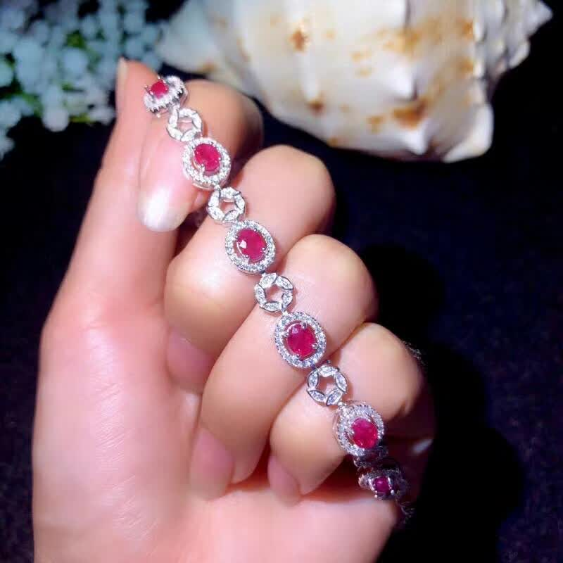 shilovem 925 sterling silver real natural Ruby Bracelets fine Jewelry trendy women party new plant wedding 4 5mm bl040501agh in Bracelets Bangles from Jewelry Accessories